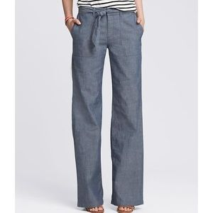 NWT! Chambray Pants Wide Leg Trousers Tie Front